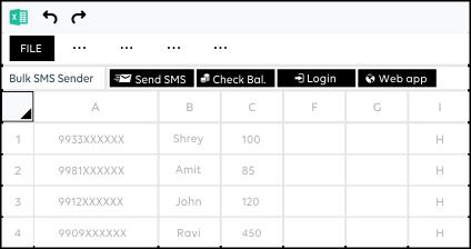 SMSheet, Google spreadsheet